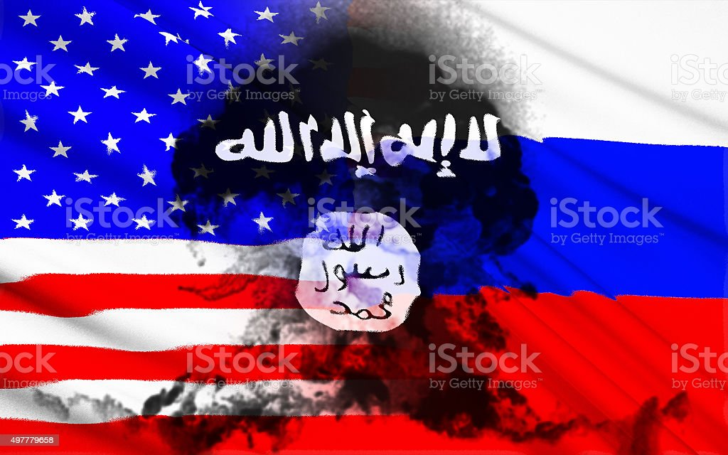 Flag of Russia and USA stock photo