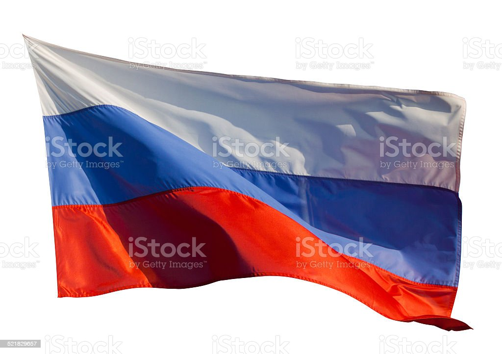 Flag of Russia. Isolated over white stock photo