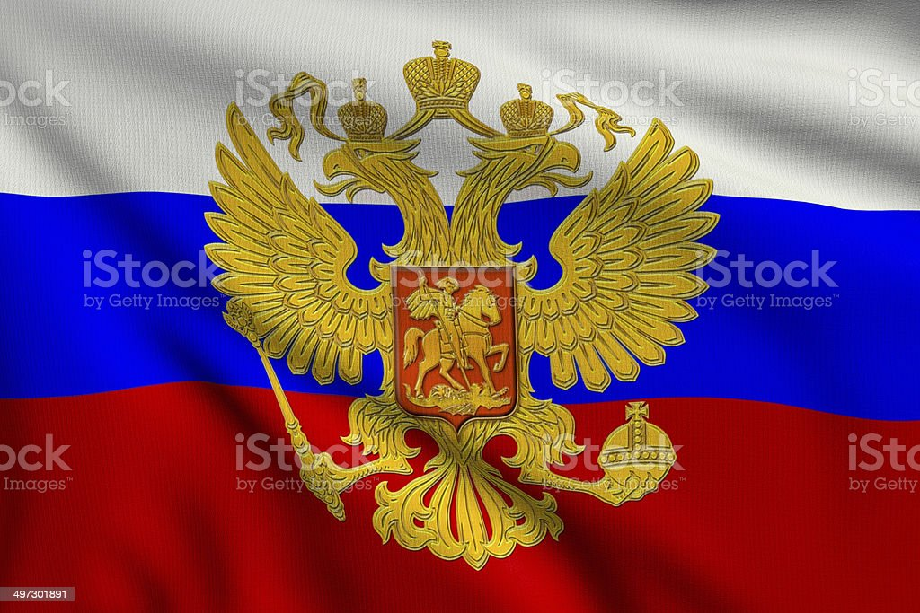 Flag of Russia with the coat of arms royalty-free stock photo