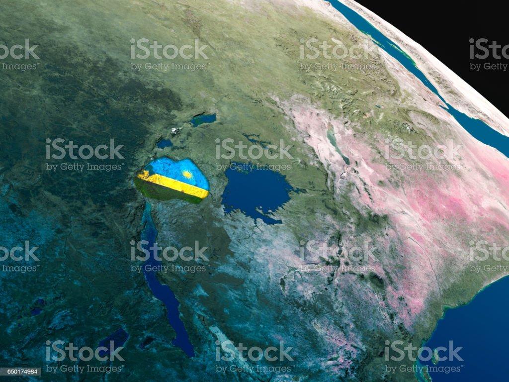 Flag of Rwanda from space stock photo
