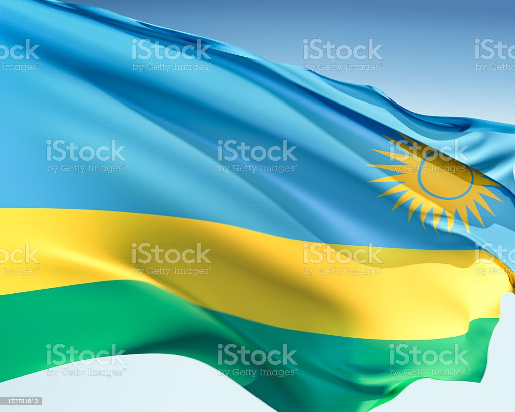 Flag of Rwanda stock photo