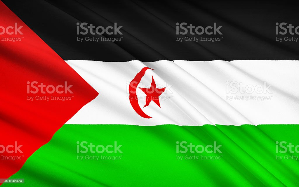 Flag of Sahrawi Arab Democratic Republic, El Aaiun, Tifariti stock photo