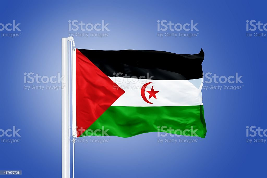 Flag of Sahrawi Arab Democratic Republic flying stock photo
