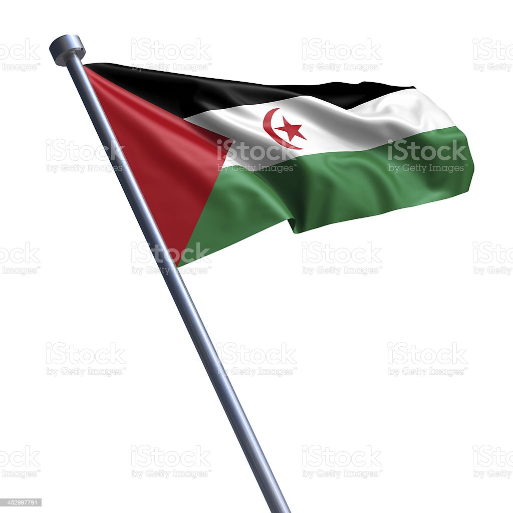 Flag of Sahrawi Arab Democratic Republic isolated on white stock photo