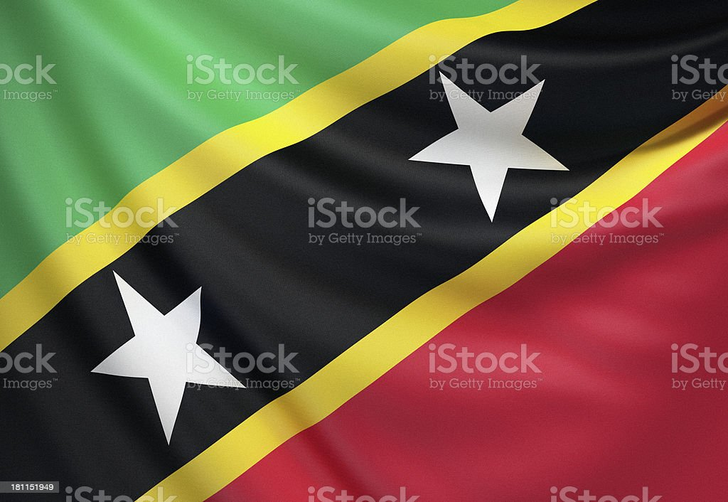 Flag of Saint Kitts and Nevis stock photo