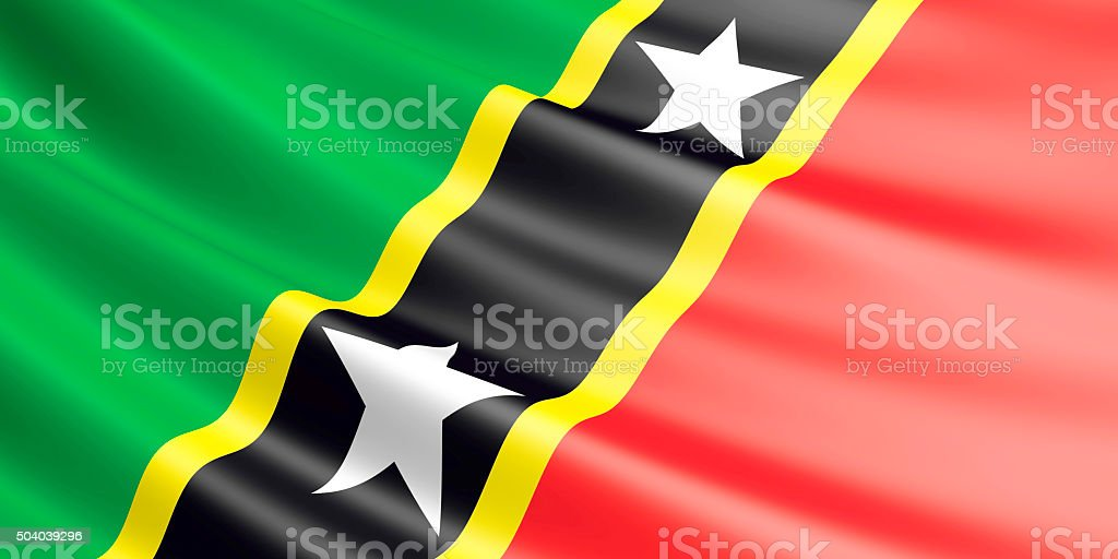 Flag of Saint Kitts and Nevis waving in the wind. royalty-free stock vector art