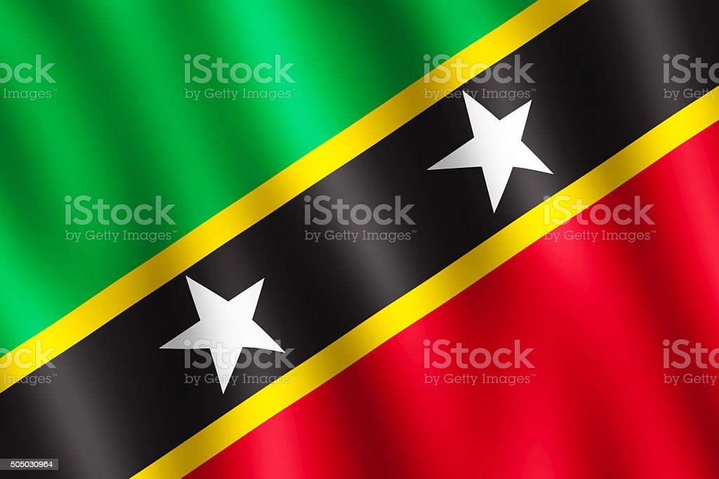 Flag of Saint Kitts and Nevis waving in the wind stock photo