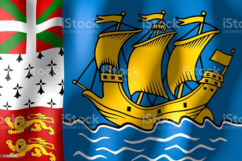 Flag of Saint Pierre and Miguelion stock photo