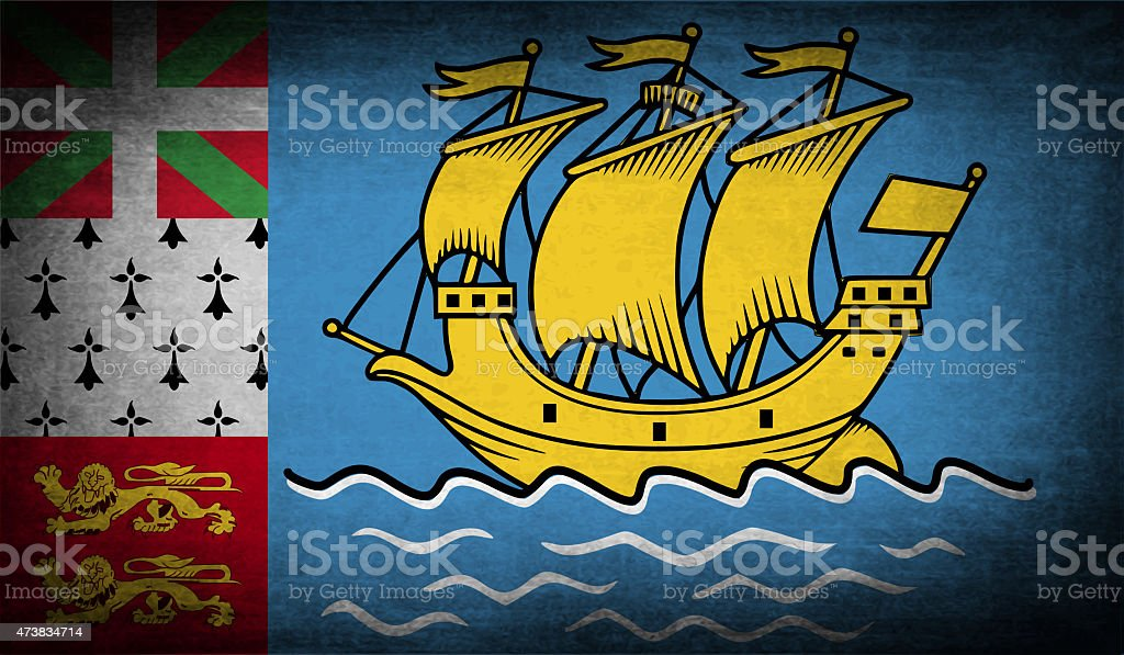 Flag of Saint Pierre and Miquelon, France with old texture. stock photo