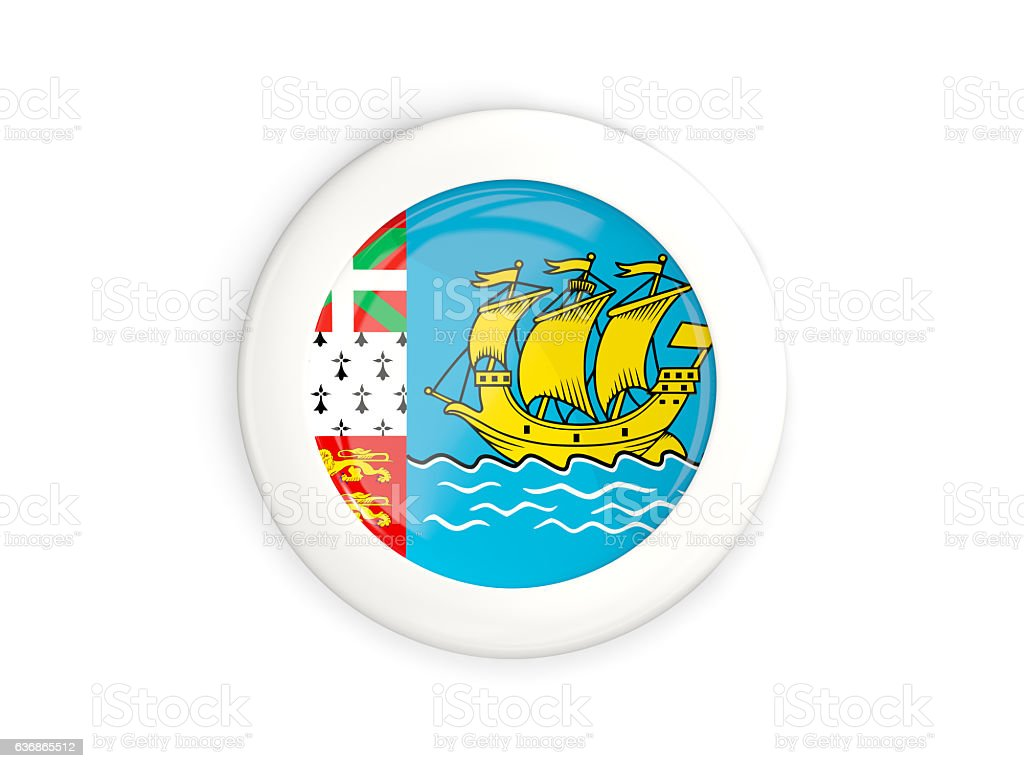 Flag of saint pierre and miquelon, glossy round button stock photo