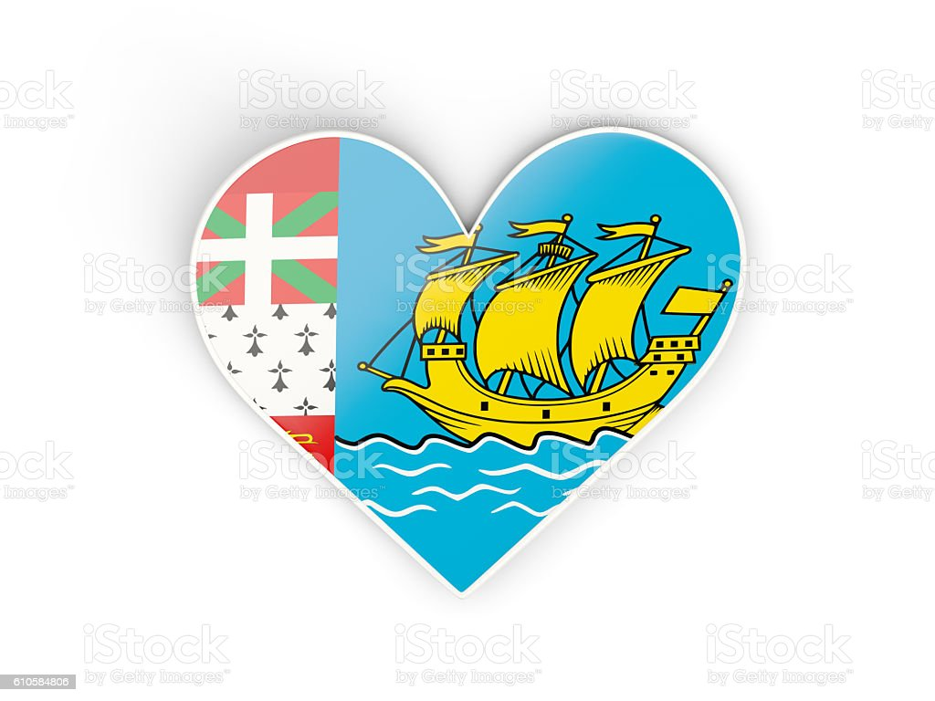 Flag of saint pierre and miquelon, heart shaped sticker stock photo