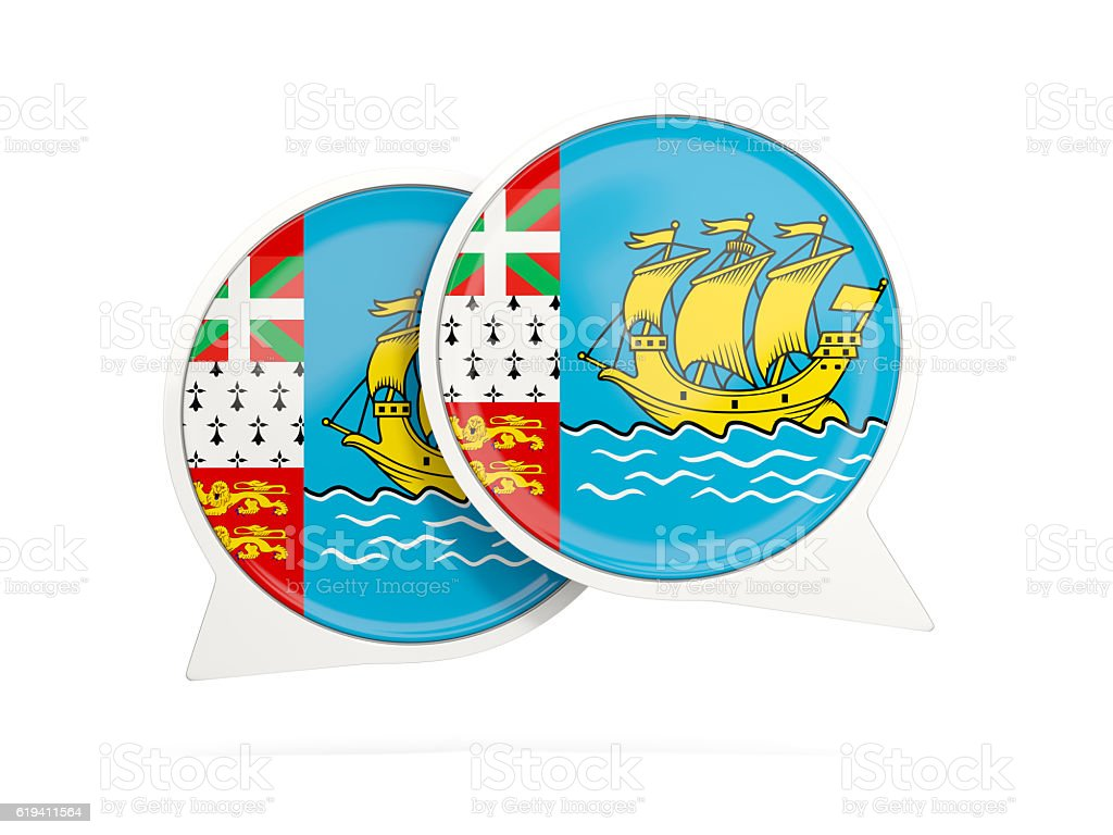 Flag of saint pierre and miquelon, round chat icon stock photo