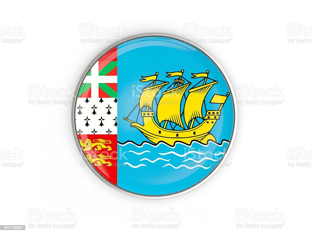 Flag of saint pierre and miquelon, round icon stock photo