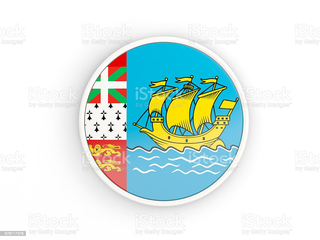 Flag of saint pierre and miquelon. Round icon with frame stock photo