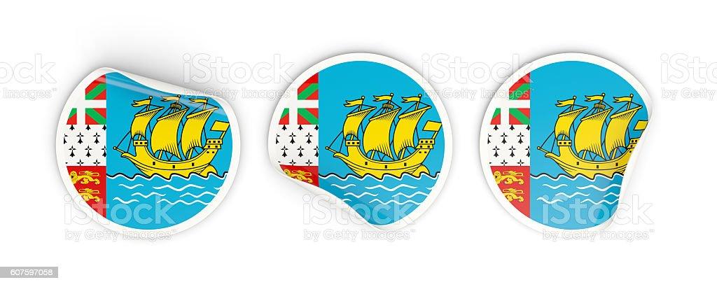 Flag of saint pierre and miquelon, round labels stock photo