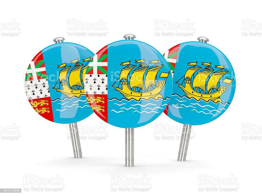 Flag of saint pierre and miquelon, round pins stock photo