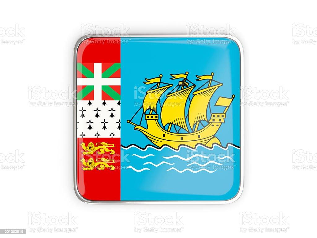 Flag of saint pierre and miquelon, square icon stock photo