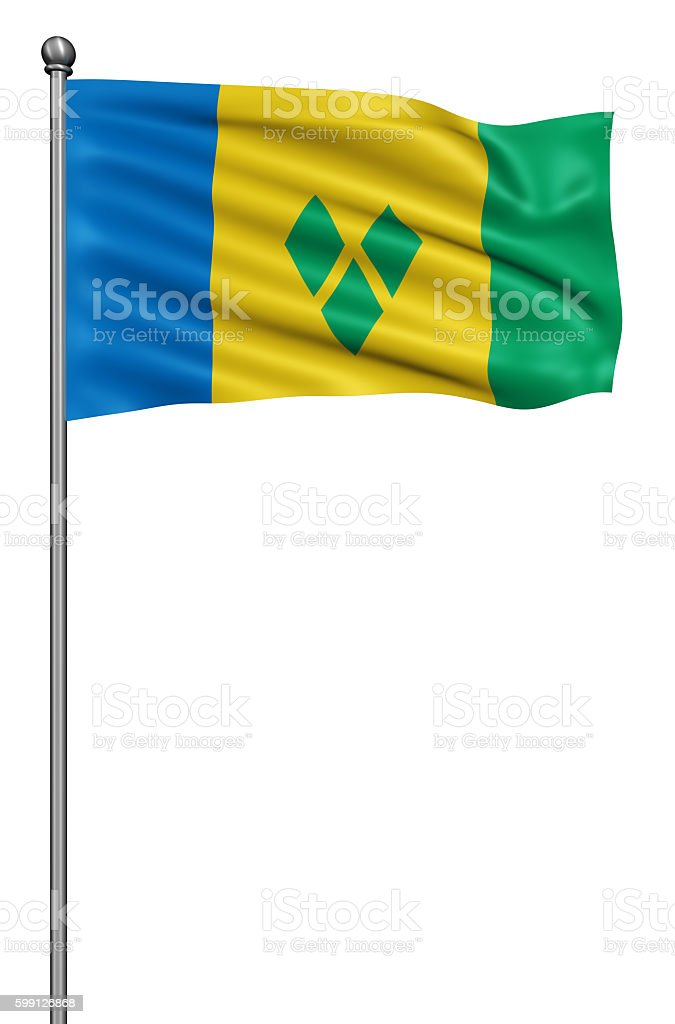 Flag of Saint Vincent and the Grenadines against white background. stock photo