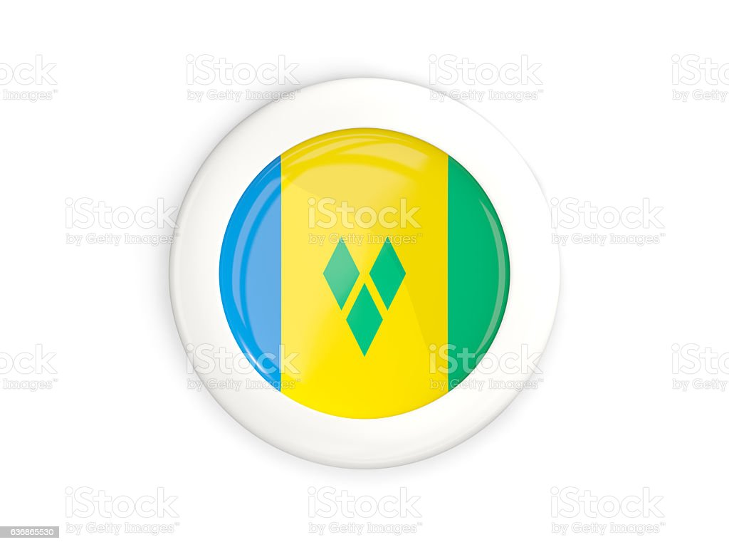 Flag of saint vincent and the grenadines, glossy round button stock photo