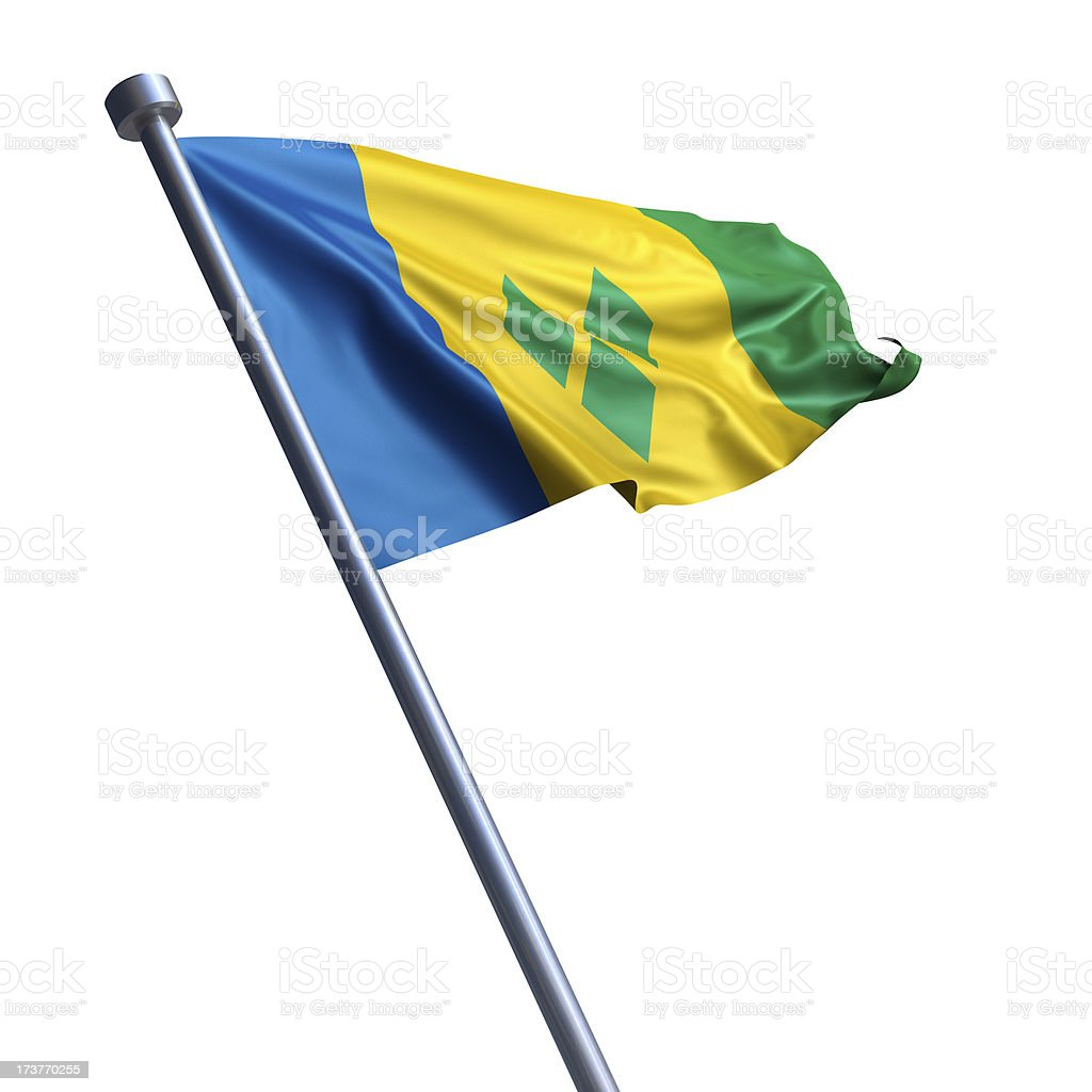 Flag of Saint Vincent and the Grenadines isolated on white stock photo