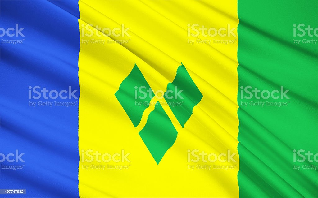 Flag of Saint Vincent and the Grenadines, Kingstown stock photo