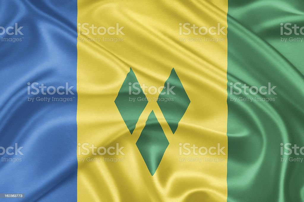 Flag of Saint Vincent and the Grenadines stock photo