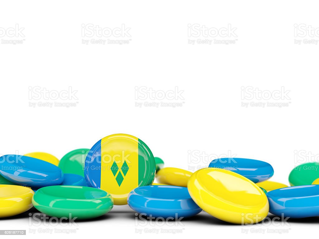Flag of saint vincent and the grenadines, round buttons stock photo