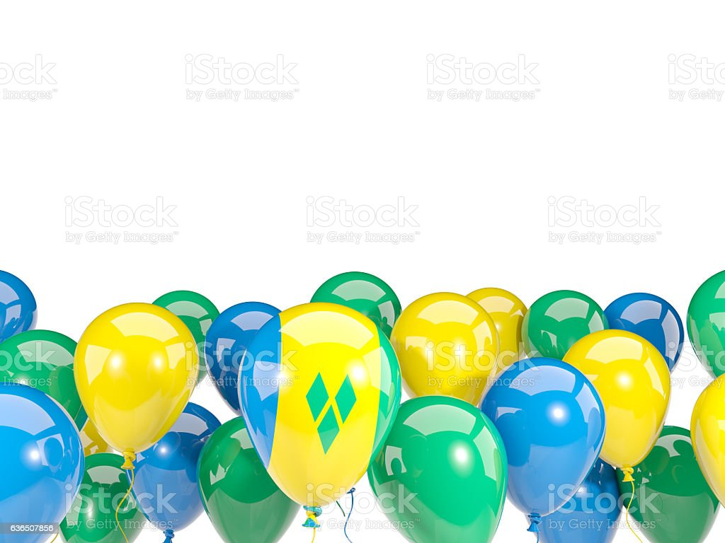 Flag of saint vincent and the grenadines with balloons stock photo