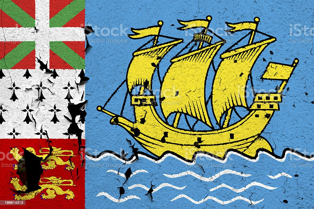 Flag of Saint-Pierre and Miquelon royalty-free stock photo