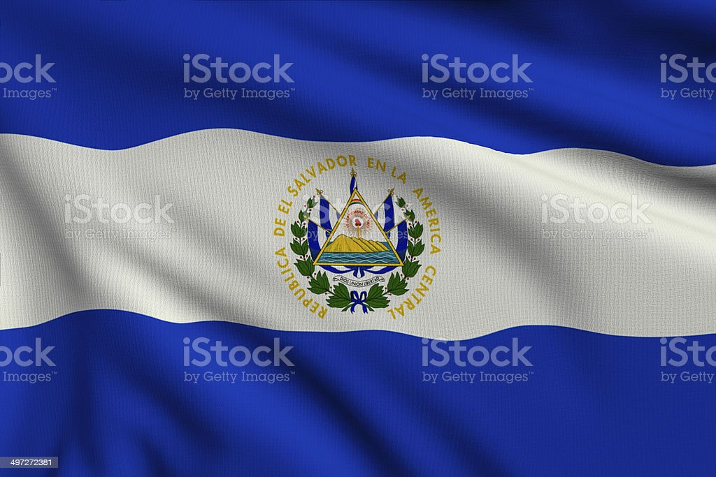 Flag of Salvador stock photo
