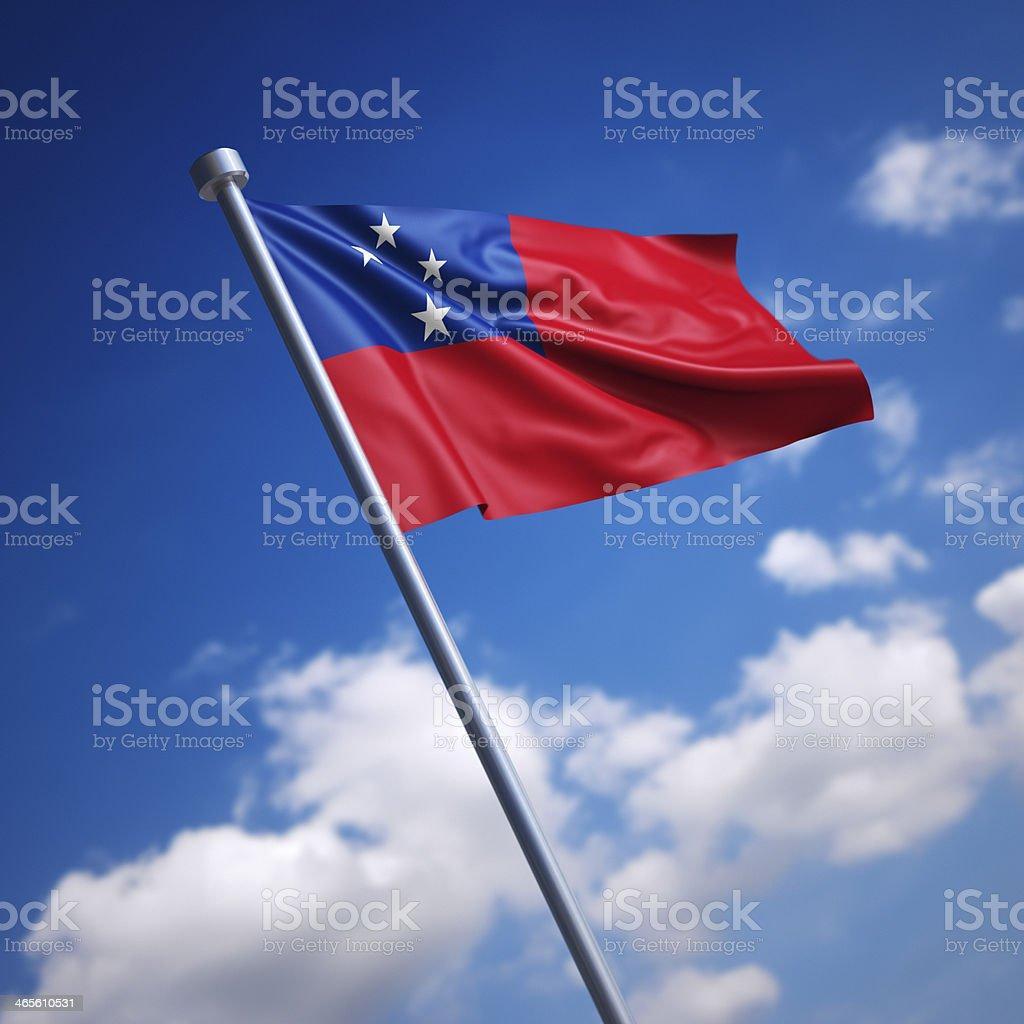 Flag of Samoa against blue sky stock photo