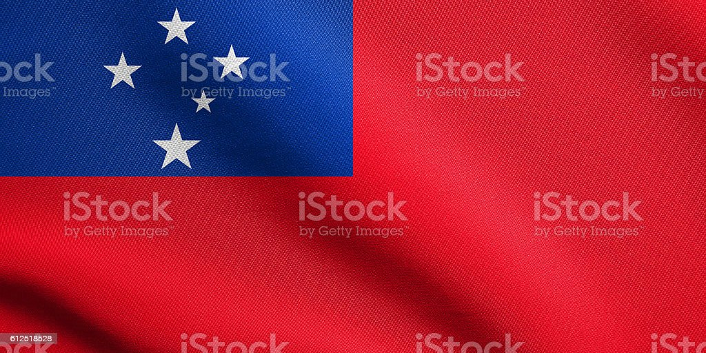 Flag of Samoa waving with fabric texture stock photo