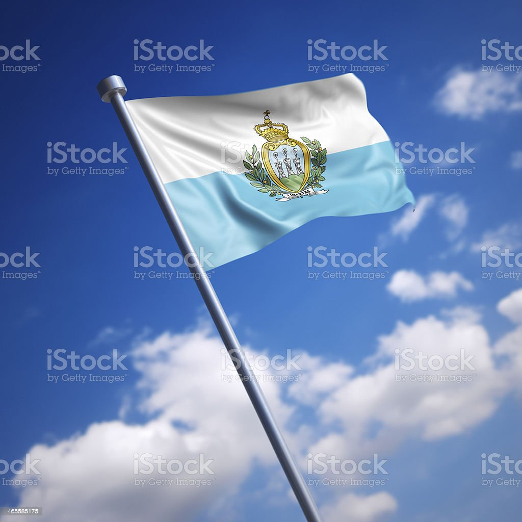 Flag of San Marino against blue sky stock photo