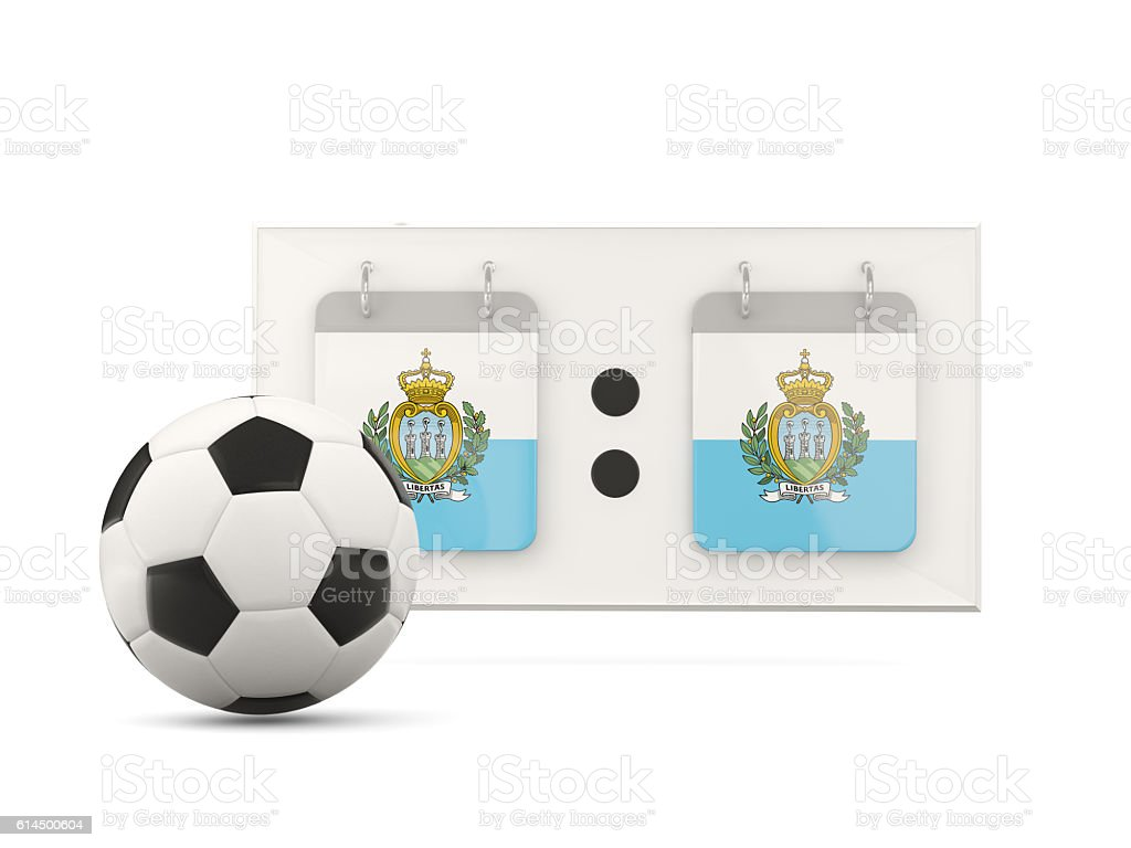 Flag of san marino, football with scoreboard stock photo