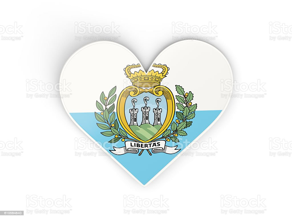 Flag of san marino, heart shaped sticker stock photo