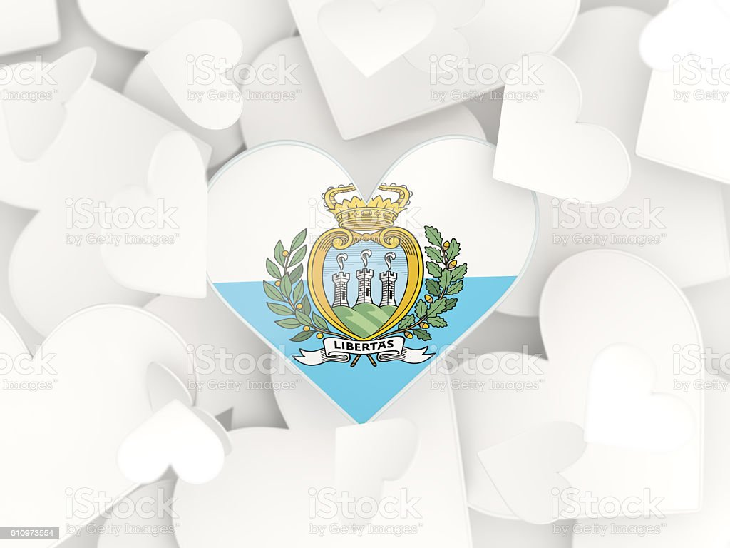 Flag of san marino, heart shaped stickers stock photo
