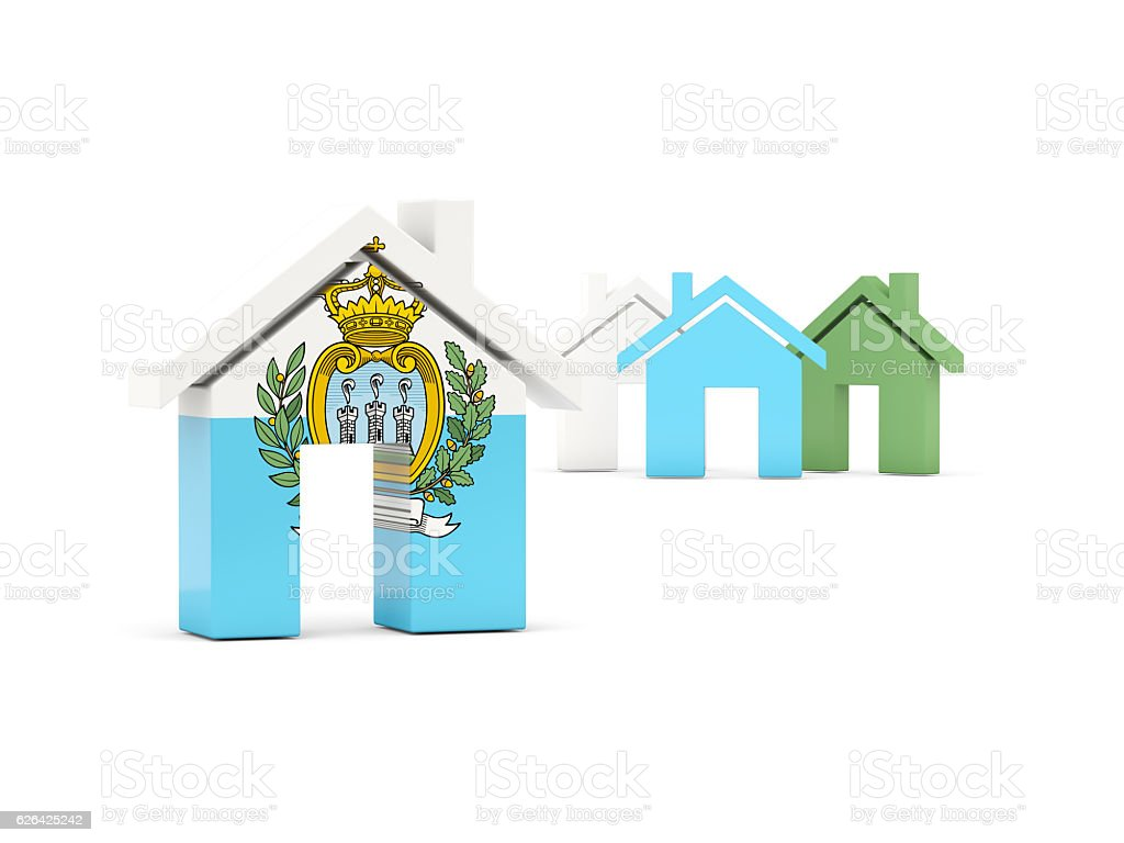 Flag of san marino, home icon stock photo