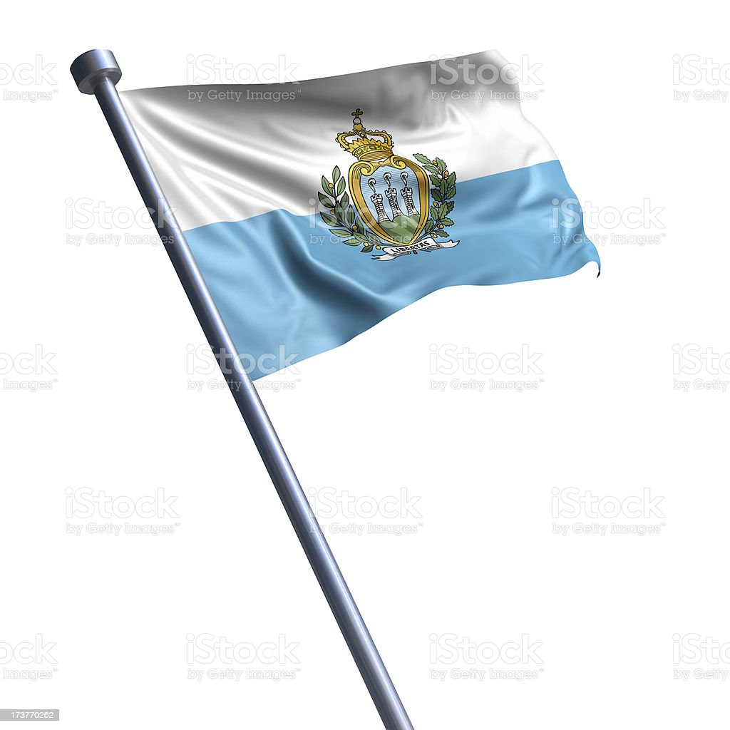 Flag of San Marino isolated on white stock photo