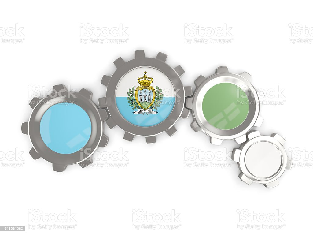 Flag of san marino, metallic gears stock photo