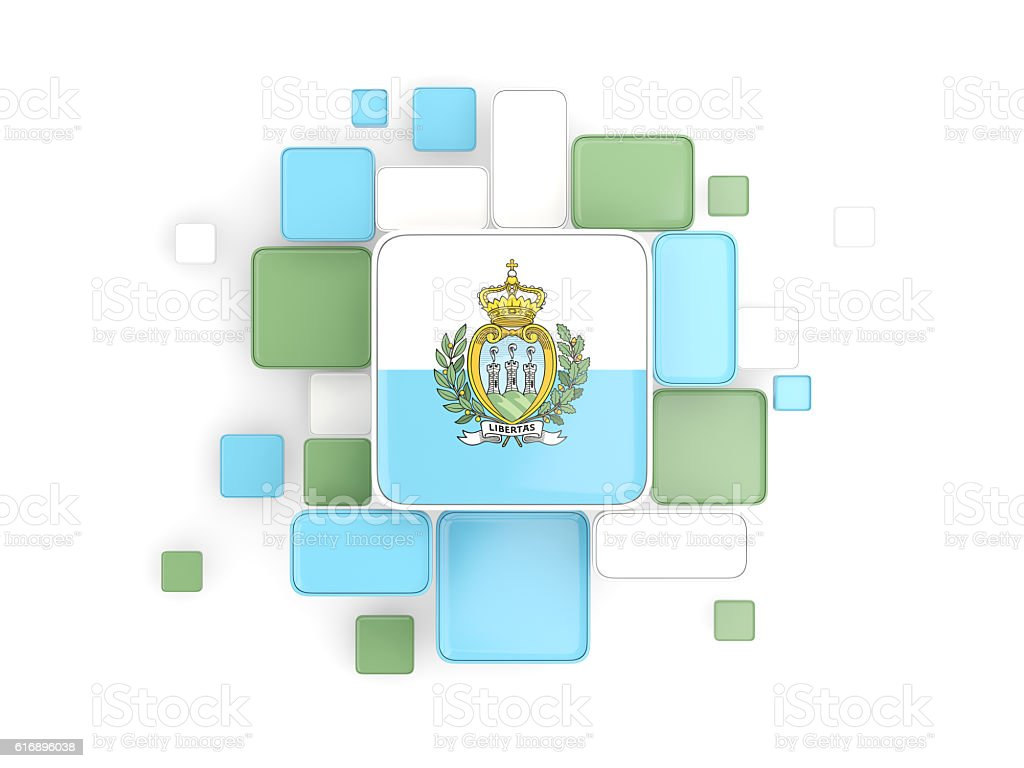 Flag of san marino, mosaic background stock photo