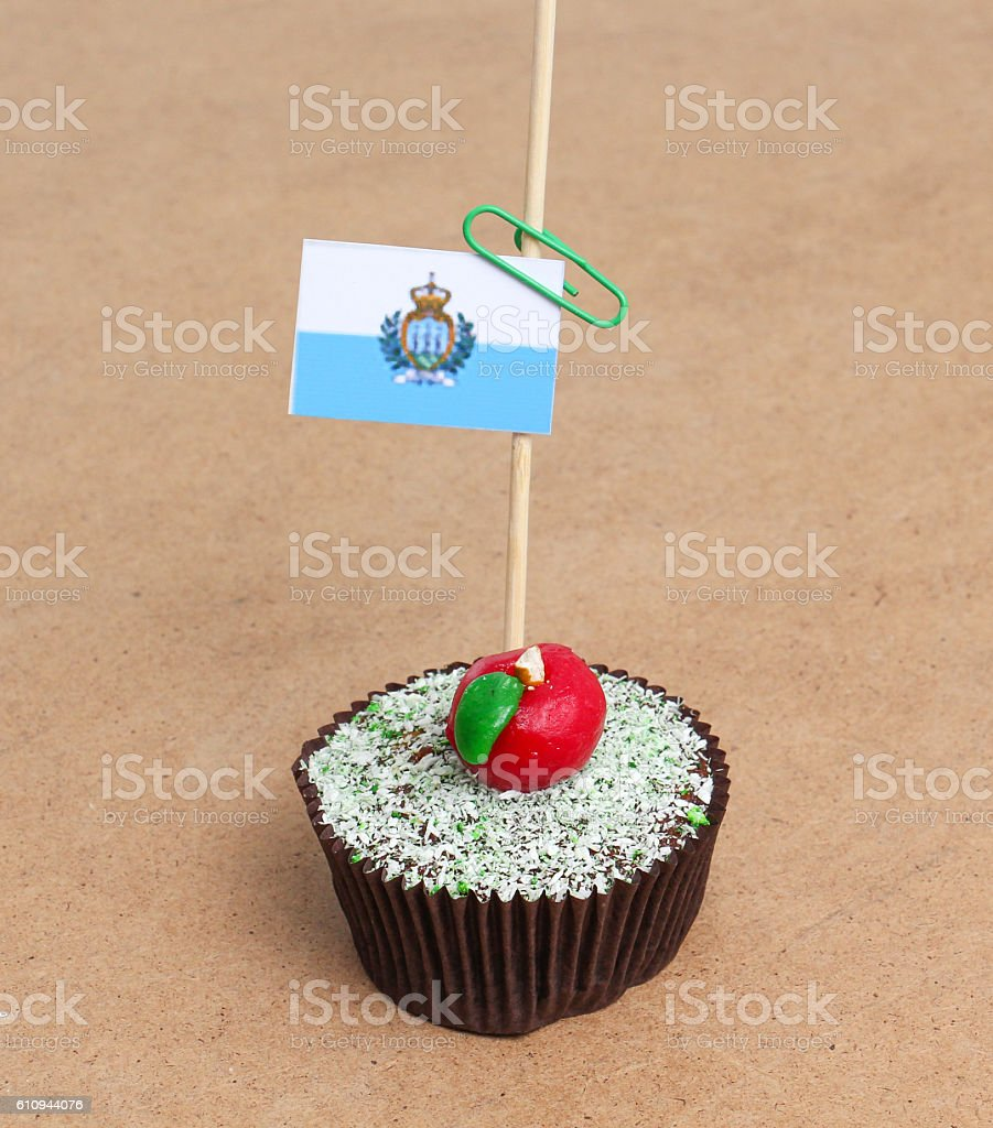 Flag of san marino on cupcake stock photo