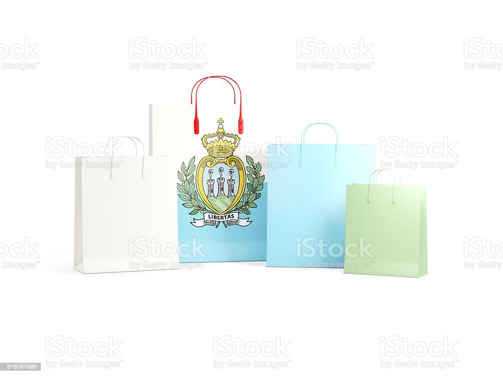 Flag of san marino on shopping bags stock photo