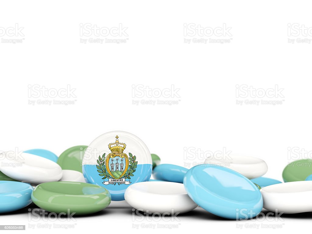 Flag of san marino, round buttons stock photo