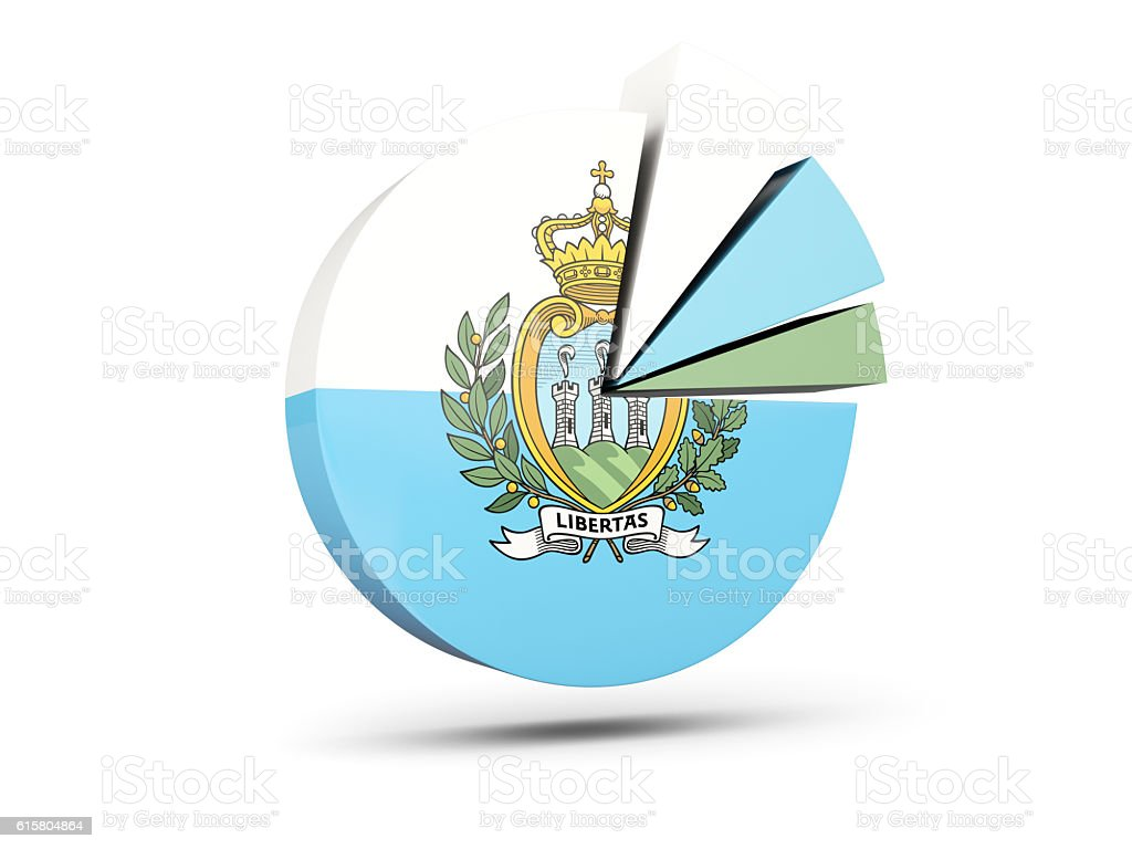 Flag of san marino, round diagram icon stock photo