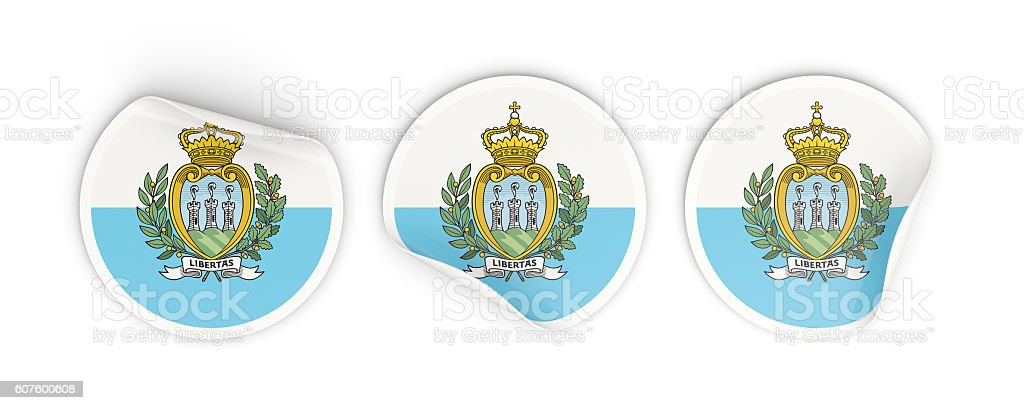 Flag of san marino, round labels stock photo