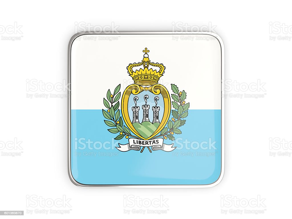 Flag of san marino, square icon stock photo