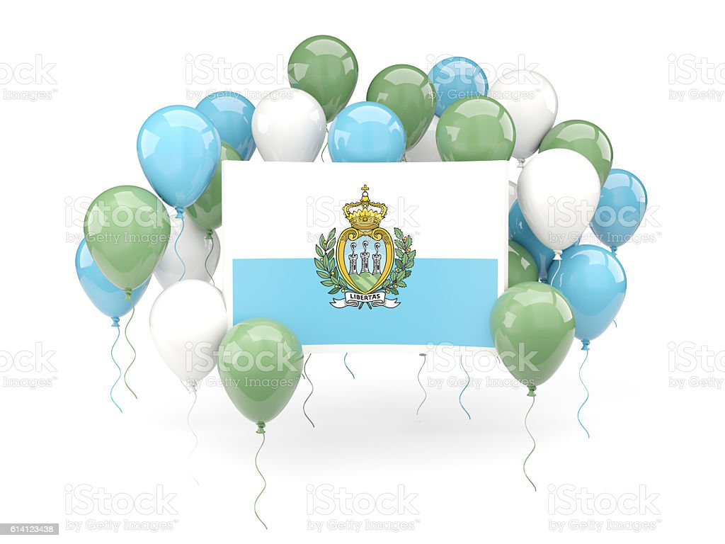 Flag of san marino with balloons stock photo