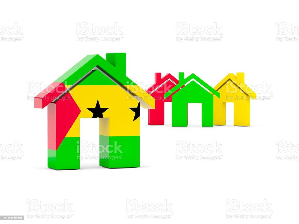 Flag of sao tome and principe, home icon stock photo