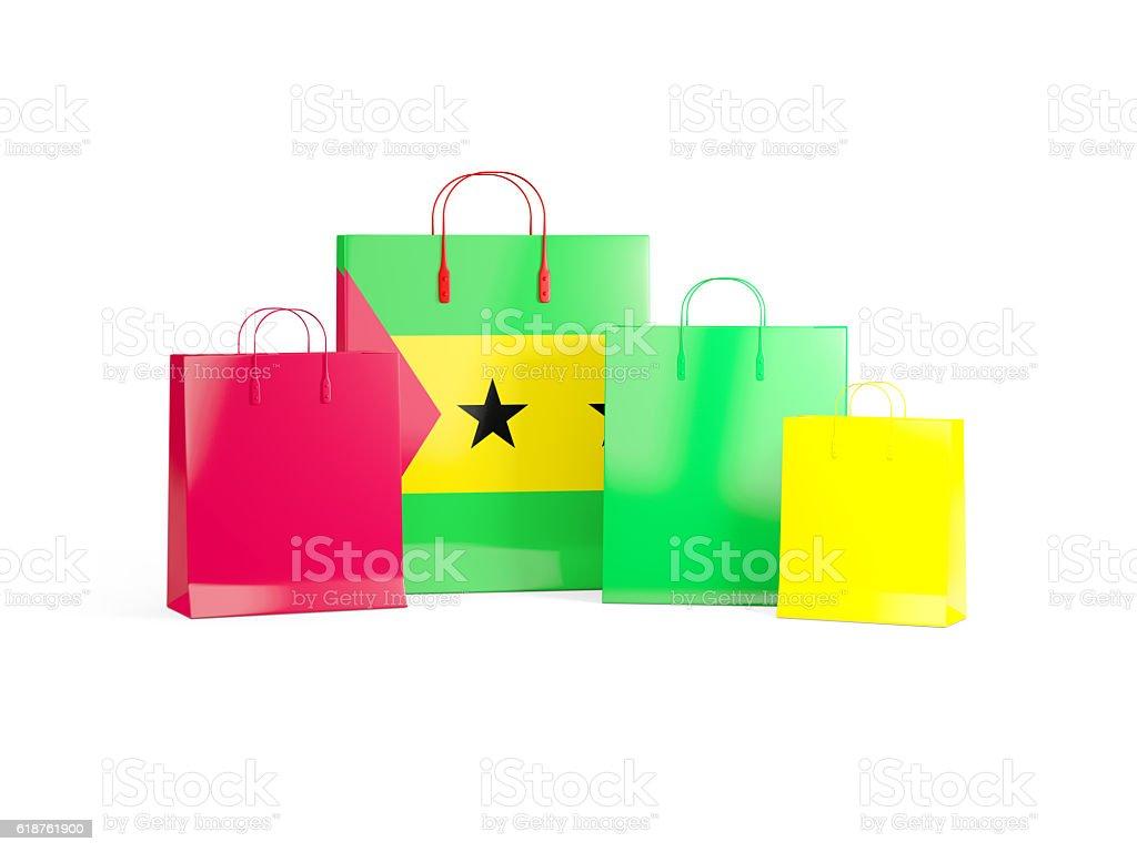 Flag of sao tome and principe on shopping bags stock photo