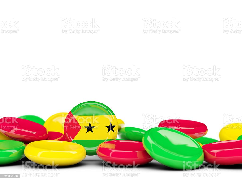 Flag of sao tome and principe, round buttons stock photo